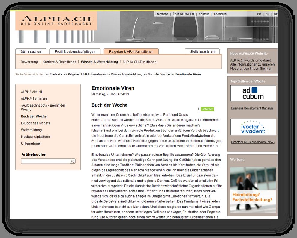 """alpha.ch, der Schweizer online Kadermarkt empfiehlt """"Das emotionale Unternehmen"""""""